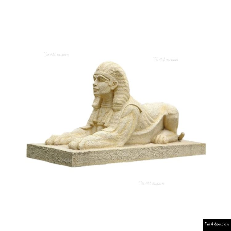 Image of Stone Egyptian Sphinx on Base