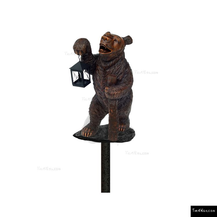 Image of Bear with Lantern Post Topper
