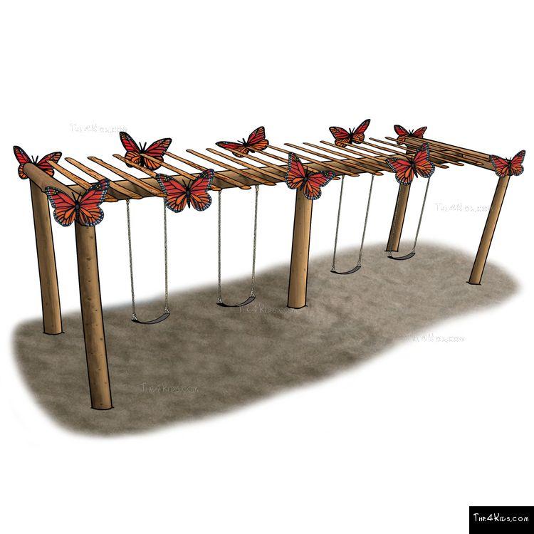Image of Large Butterfly Pergola Swing Set