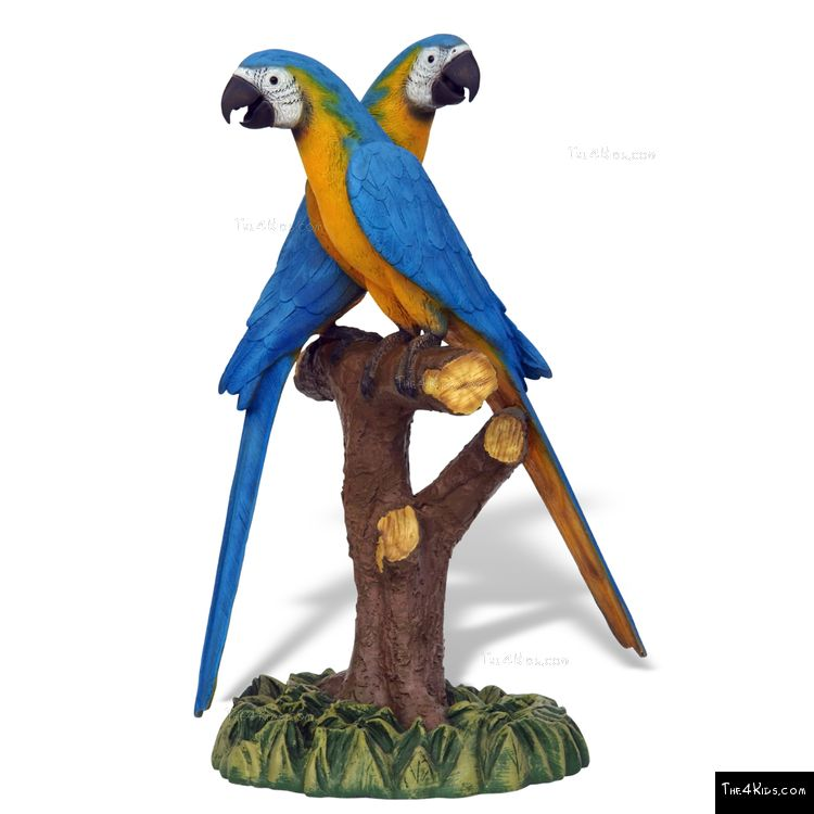 Image of Blue Gold Macaw Pair Sculpture