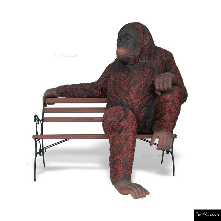 Image of Orangutan Sculpture on Park Bench